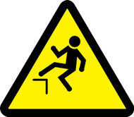 ISO Safety Sign- Step Off Hazard Sign - Adhesive Vinyl - 6''