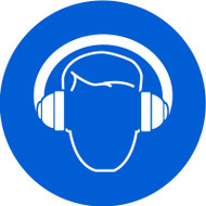ISO Safety Sign- Wear Hearing Protection - Adhesive Vinyl - 6''