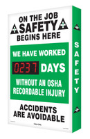 Digi Day Safety Scoreboard- On The Job Safety Begins Here SCA237 Accuform