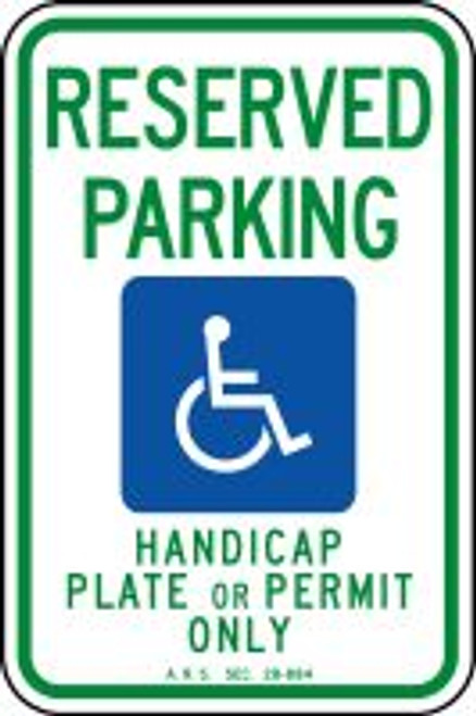 Arizona Handicap Reserved Parking Handicap Plate Or Permit Only Sign