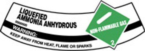 Ammonia Anhydrous, Liquid Non-flammable Warning Keep Away From Heat, Flame Or Sparks