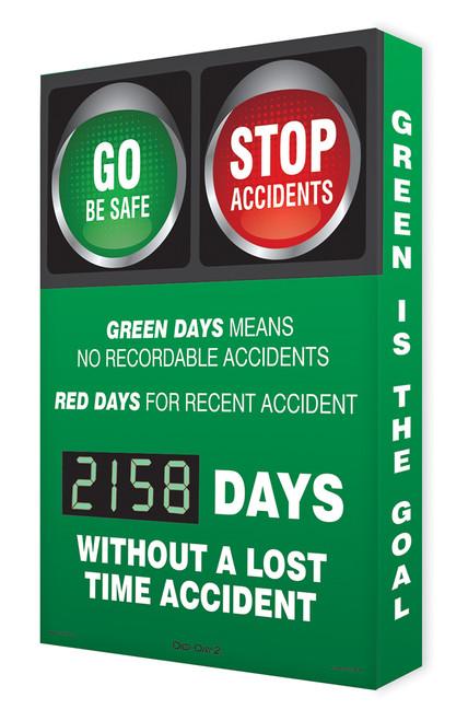 Digi Day 2 Electronic Safety Scoreboard- Green Days  Accuform SCG158