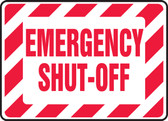 Emergency Shut-Off Sign- Red/ White