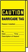Caution Barricade Tag- Wrap n Stick Safety Tag