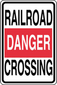 Danger Railroad Crossing Sign- 24 in X 18 in - Engineer Reflective