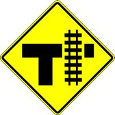 """T-intersection Parallel Railroad Crossing (right) 30"""" X 30"""" Engineer Reflective"""