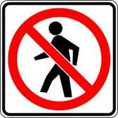 """No Pedestrian Crossing Symbol- 24"""" X 24""""  Engineer Reflective"""