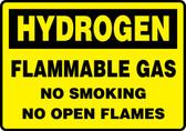Hydrogen Flammable Gas No Smoking No Open Flames