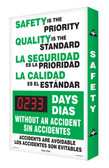 Bilingual Spanish Digi Day Plus Safety Scoreboard for Outdoor Use SBSCM349