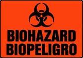 Spanish Biohazard Sign- Bilingual Spanish Safety Sign