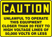 Caution Unlawful To Operate This Equipment Closer Than 20 Feet