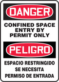 Danger - Confined Space Entry By Permit Only Bilingual Sign