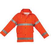 Reflective Rain Jacket Orange- Short- 2XLarge