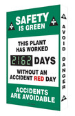 Digi Day 2 Electronic Safety Scoreboard- Safety is Green This Plant  SCG162