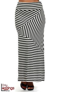Asymmetrical Thin Stripe Rayon Maxi Skirt - Plus Size