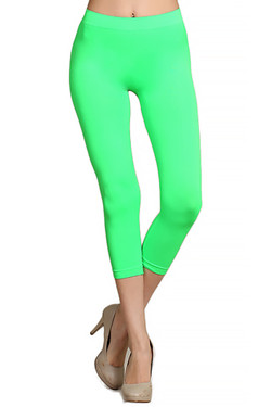 Capri Length Neon Nylon Spandex Leggings