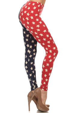 Split Red and Blue USA Leggings