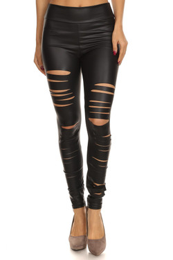 Sexy Slashed High Waisted Faux Leather Leggings