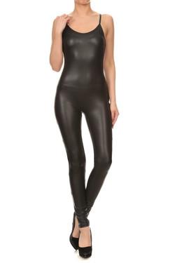 Spaghetti Strap Faux Leather Jumpsuit