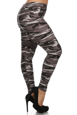 Black and White Camouflage Leggings - Plus Size