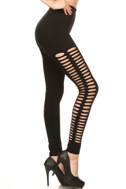 Premium Duo Side Slashed Black Leggings