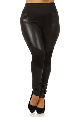 Chatelaine High Waisted Faux Leather Leggings - Plus Size