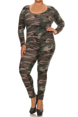 Camouflage Full Jumpsuit - Plus Size