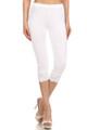 White USA Cotton Capri Lace Leggings
