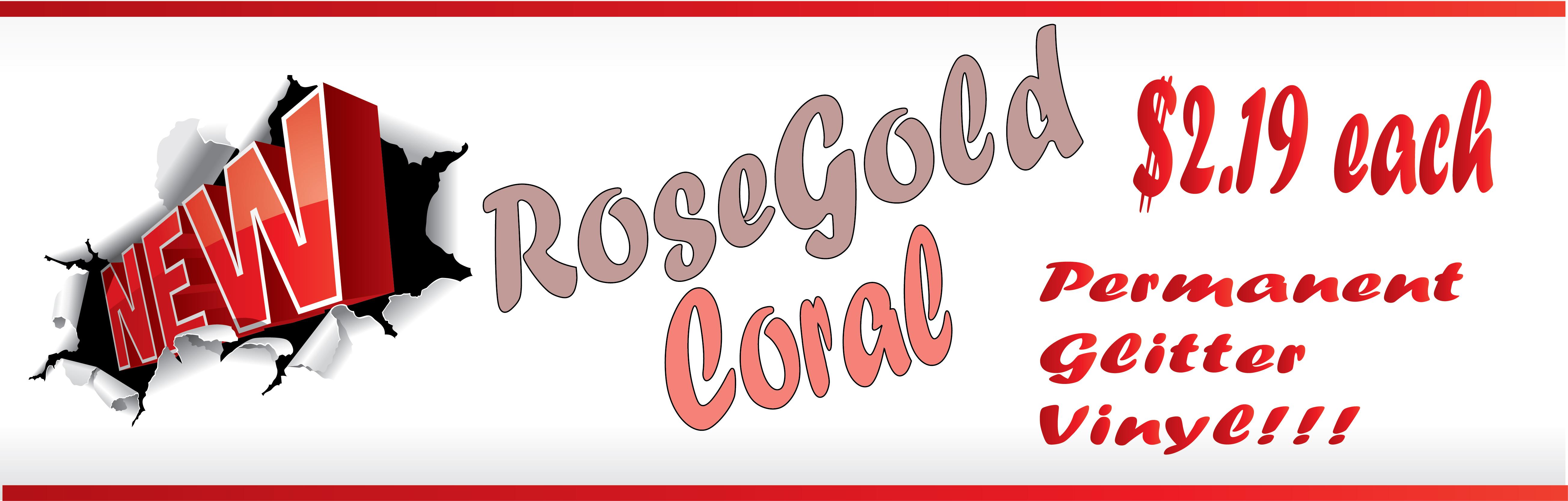 Rose gold Coral Glitter