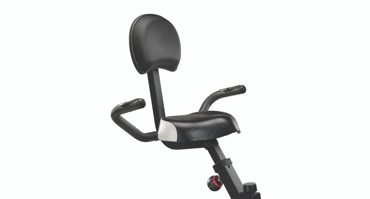 the e3 features a wider seat and a custom height backrest for greater comfort and ergonomics this stationary bike slides neatly under desks