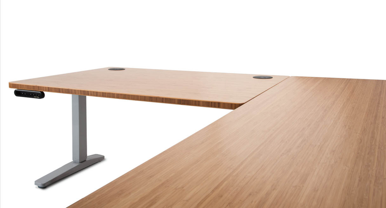 side view of the lshaped bamboo desk