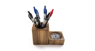 The Reclaimed Teak Desk Organizer Set is made from naturally sourced Teak