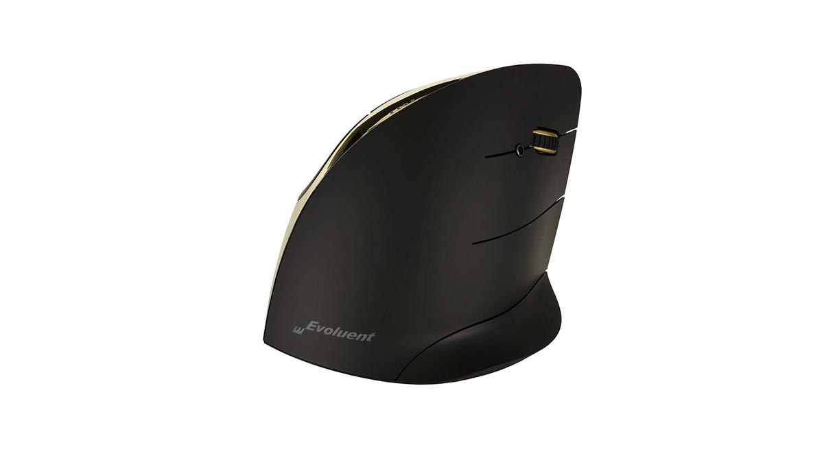 Mouse in a more ergo-friendly posture with the Evoluent Vertical Mouse C: Right Hand Wireless Gold Mouse VMCRWG