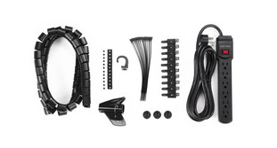 Basic Wire Management Kit with 10 adhesive cable mounts, 12 screw-in cable mounts, 12 reusable cable ties, 3 cable drop-downs, basic surge protector, cable organizer, accessory hook, and hardware