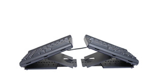 Both of the multi-angle tenting modules attach to each side of the keyboard on the Kinesis Ascent Multi-Tent Accessory for the Kinesis Freestyle