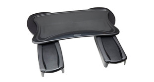 "The Mobo Ergonomic Workstation Chair Mounted Keyboard Tray attaches to most chairs with open or T-shaped arms up to 4"" wide and less than 2.5"" deep at the ends"