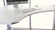 Telescoping frame with hidden crossbar under the desktop frees up legroom
