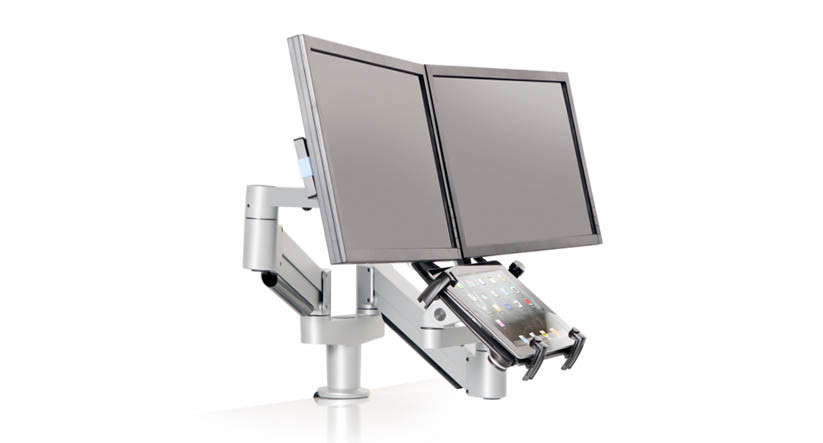 Twin arms allow for independent adjustment of monitors or tablet
