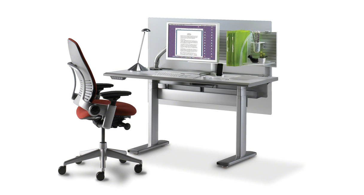 shop steelcase series  electric heightadjustable desk - highpressure laminate worksurface is constructed of a wood core and is thick