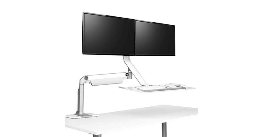 Create your standing desk complete with double monitors, keyboard, and mouse platform that raise and lower together
