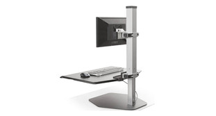 Effortless height adjustment locks into place for additional stability on the Innovative Winston Sit-Stand Workstation