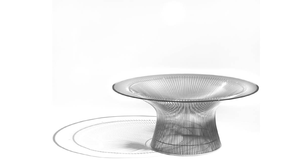 knoll platner coffee table  shop knoll platner coffee tables - vertical steel wire rods welded to circular horizontal and edgeframing rods