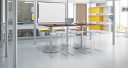 The Steelcase Turnstone Scoop Stool is available with an arctic white or platinum frame