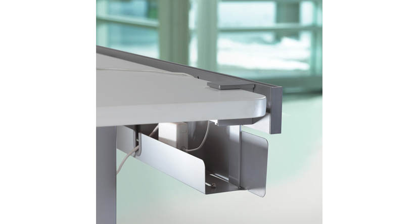 Mounts to Steelcase SOTO Worktools Rail under your desk