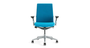 The Steelcase Think chair is available in your choice of black, platinum, or seagull frames