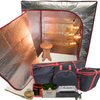 Sauna Fix® Ultimate Bundle 110V International (Canada and Mexico) near infrared sauna, radiant tent, poplar stool, ionic sauna booster, rope ratchets, Stay Safe glasses, organic bamboo throw rug and travel/storage accessories.