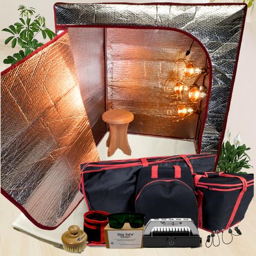 The Sauna Fix Ultimate Bundle 110 volt USA portable NIR sauna includes a near infrared sauna lamp, radiant sauna tent, poplar sauna stool, travel/storage bags, ionic sauna booster and spa sauna accessories.