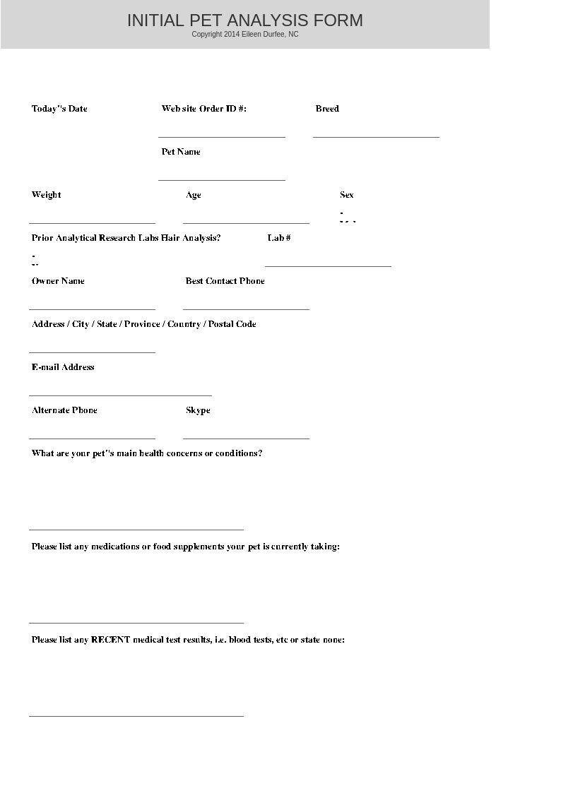 Initial Pet Information | HTMA Hair Analysis
