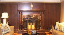 Walnut Crotch and Cherry Veneer Fireplace