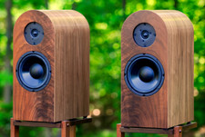 Premium Walnut Veneer Round-Top Speakers